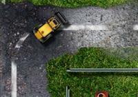 conduite, course, véhicule, pilotage, circuit, bulldozer, chantier, destruction