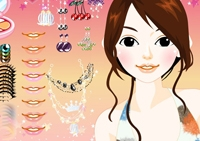 fille, maquillage, mode, bijoux, coiffure