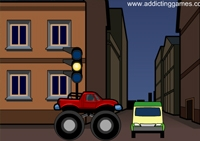 conduite, pilotage, course, monster truck, monster car, tout terrain, 4x4, pietons, police, gyrophare