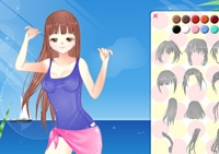 Fille, stylisme, habillement, habillage, manga, plage, dress up, relooking