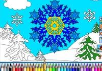 coloriage, hiver, peinture, couleur, dessin, neige