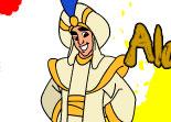coloriage, Aladdin, peintre,