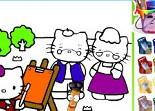 Hello Kitty, coloriage, peinture, couleur