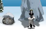 yéti, pingouin, lancer