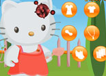 fille, habillage, Hello Kitty