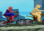 Spiderman, Sandman, course, vélo, bicyclette