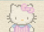 Hello Kitty, broderie, point de croix, chat blanc