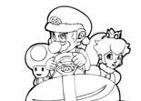 coloriage, mario, Peach, Toad, dessin, peinture