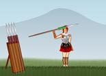 tir, lancer, pilum, guerrier à lance