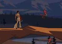 plateforme, apache, indien, hache, guerre, saut, obstacle, combat, démons, dragon