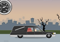 voiture, corbillard, cercueil, lancer